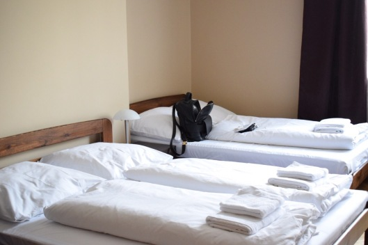 A picture of the room we stayed in, pretty small and clean. We had to share the apartment with other people so i couldnt take pictures of the whole apartment.